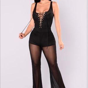 🆕 Black Lace Up Mesh Leg Romper/Jumpsuit